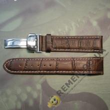 20 мм. Ремешок для часов LONGINES, цвет коричневый с белой строчкой и клипсой