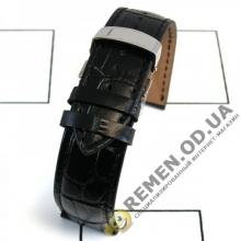 20мм. Чёрный кожаный ремешок со стальной клипсой