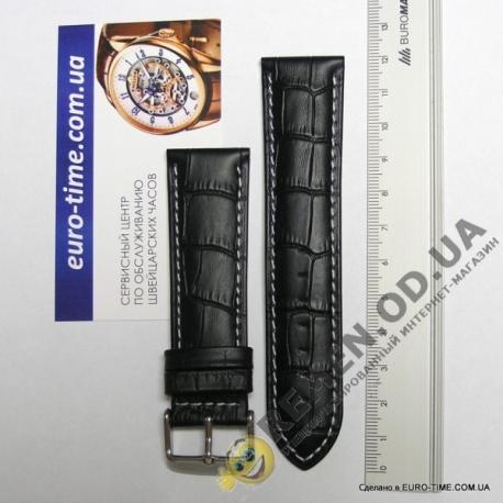 24мм. Чёрный кожаный ремешок с белой строчкой