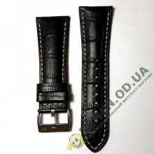 28мм. Чёрный кожаный ремешок из кожи телёнка