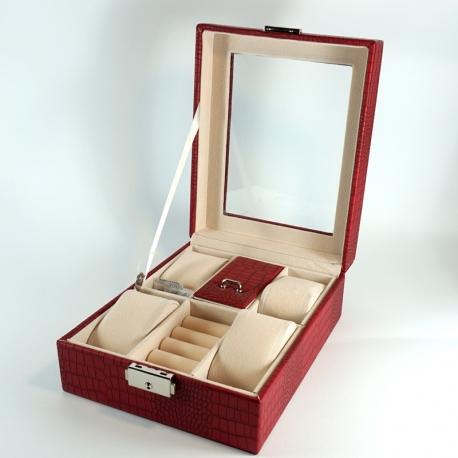 Шкатулка для бижутерии, часов и колец красная L3