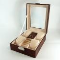 Шкатулка для 4 пар часов и ювелирных украшений коричневого цвета L5