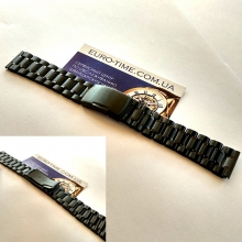 Браслет для часов 18 мм, чёрная сталь, цельные звенья