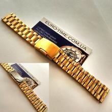 Браслет для часов 20 мм, золотой, цельные звенья