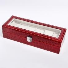 Лаковая красная шкатулка для часов на 6 пар