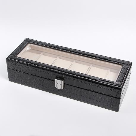 Лаковая черная шкатулка для часов на 6 пар