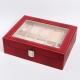 Шкатулка для 6 пар часов бижутерии серёжек и драгоценностей цвет красный - модель L10