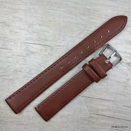 Ремешок для часов, коричневый гладкий, 16мм