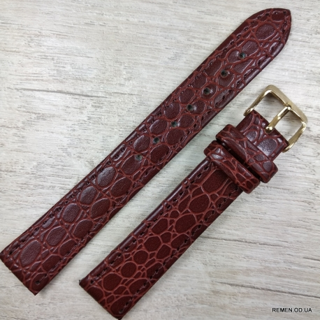 Ремешок для часов, коричневый фактурный, 16мм