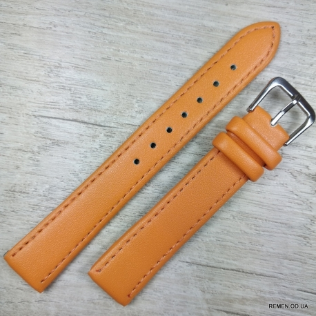 Ремешок для часов, оранжевый гладкий, 16мм