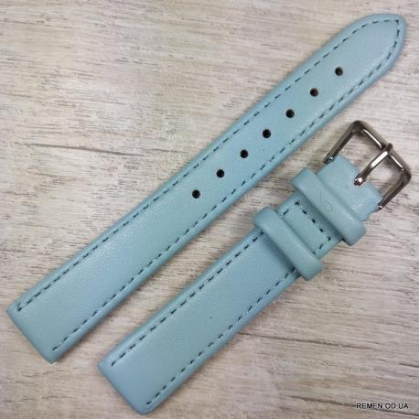 Ремешок для часов, голубой гладкий, 16мм