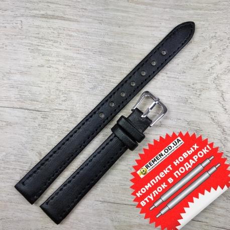 Ремешок на часы, 12 мм, черный гладкий