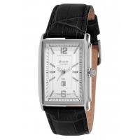 Прямоугольные мужские часы с кожаным ремешком с белым циферблатом и стальном корпусе - guardoS0824-SW