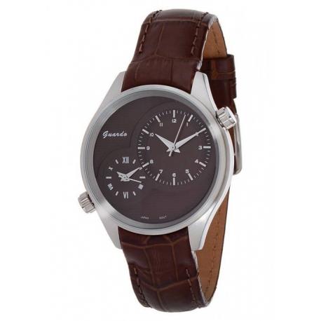 Мужские часы с двумя механизмами в стальном корпусе и коричневым ремешком - guardo s9898sbr